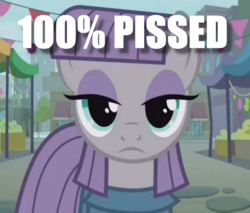 Size: 534x454 | Tagged: safe, edit, edited screencap, screencap, maud pie, earth pony, pony, the gift of the maud pie, 200% mad, cropped, female, image macro, impact font, mare, maud being maud, meme, solo, the fire in her eyes, tranquil fury
