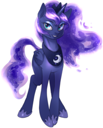 Size: 1398x1736 | Tagged: safe, artist:php94, princess luna, alicorn, pony, female, looking at you, mare, simple background, smiling, solo, white background