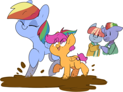 Size: 1011x759 | Tagged: safe, artist:cardinal, artist:originalcalpis, bow hothoof, rainbow dash, scootaloo, windy whistles, pegasus, pony, 4chan, clothes, cute, cutealoo, dashabetes, drawthread, eye clipping through hair, eyes closed, mud, no pupils, open mouth, puddle, rainbow dash's parents, scootalove, simple background, smiling, sweater, transparent background
