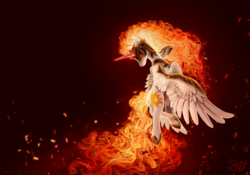 Size: 1600x1120 | Tagged: safe, artist:nemo2d, daybreaker, alicorn, pony, a royal problem, armor, dark background, featured image, female, fire, flying, glare, glowing eyes, helmet, looking back, mane of fire, mare, red eyes, signature, simple background, solo