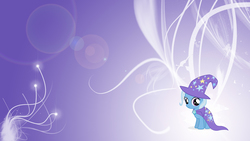 Size: 1920x1080 | Tagged: safe, artist:blackm3sh, artist:unfiltered-n, edit, trixie, pony, abstract background, cape, clothes, female, filly, filly trixie, hat, solo, trixie's cape, trixie's hat, wallpaper, wallpaper edit, younger