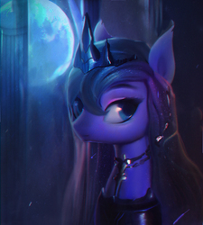 Size: 774x859 | Tagged: safe, artist:lmgchikess, princess luna, alicorn, pony, chromatic aberration, collar, female, full moon, looking at you, mare, moon, solo