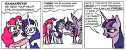 Size: 1466x588 | Tagged: alicorn, artist:gingerfoxy, comic, friendship, friendship is magic, friendship report, glare, grabbing, pinkie pie, pointing, pony, pony comic generator, rarity, safe, scared, serious, serious face, spread wings, stare, stern, threat, twilight sparkle, twilight sparkle (alicorn), ultimatum, unicorn, wings