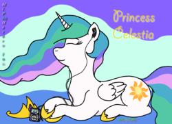 Size: 1024x742 | Tagged: safe, artist:puffydearlysmith, princess celestia, alicorn, pony, crown, eyes closed, female, jewelry, mare, mp3 player, prone, regalia, smiling