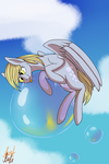 Size: 1024x1536 | Tagged: safe, artist:auntrude, derpy hooves, pony, bubble, cloud, floating, solo, tongue out
