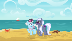 Size: 3840x2160 | Tagged: safe, artist:cheezedoodle96, fluttershy, gentle breeze, hoity toity, photo finish, posey shy, zephyr breeze, crab, earth pony, pony, starfish, .svg available, alternate hairstyle, beach, bikini, clothes, cloud, cutie mark, duo focus, eye contact, female, looking at each other, male, mare, missing accessory, ocean, photoity, sailboat, shipping, shys, skuttles the crab, speedo, stallion, straight, string bikini, svg, swimsuit, the shy family, vector, walking, wallpaper