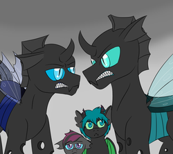 Size: 3600x3200 | Tagged: artist:jolliapplegirl, changeling, foal, gritted teeth, hissing, hybrid, interspecies offspring, kevin (changeling), magical gay spawn, next generation, oc, oc:illusive spark, oc:victor, offspring, parent:kevin, parent:scootaloo, parents:keviloo, parent:spike, parents:thoraxspike, parent:thorax, safe, sharp teeth, story included, teeth, thorax