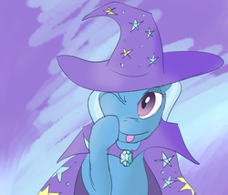 Size: 2100x1800 | Tagged: safe, artist:ononim, trixie, pony, unicorn, cape, clothes, cute, female, hat, looking at you, mare, one eye closed, solo, tongue out, trixie's cape, trixie's hat, wink