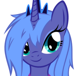 Size: 512x512 | Tagged: safe, artist:khyperia, artist:tg-0, princess luna, alicorn, pony, derpibooru, .svg available, derpibooru badge, female, mare, messy hair, meta, s1 luna, simple background, smiling, solo, svg, transparent background, vector