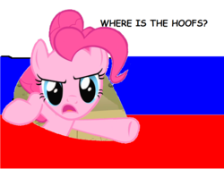 Size: 860x650   Tagged: safe, edit, pinkie pie, pony, >no hooves, angry, breaking the fourth wall, comic sans, flag, grammar error, looking at you, meme, proofster, reaction image, russian, russian flag, solo