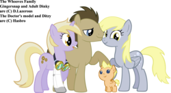 Size: 1534x833 | Tagged: artist:bronyboy, artist:dlazerous, artist:vexorb, derpy hooves, dinky hooves, doctor whooves, edit, oc, oc:gingersnap, offspring, older, parent:derpy hooves, parent:doctor whooves, parents:doctorderpy, pony, safe, simple background, time turner, transparent background, vector, vector edit