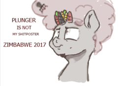 Size: 905x635 | Tagged: 4chan, afro, artist:fatalqueef, comb, drawthread, looking up, multiple horns, oc, oc only, pony, safe, shitposting, solo, text