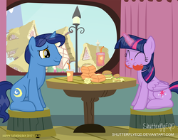 Size: 2492x1965 | Tagged: safe, artist:shutterflyeqd, night light, twilight sparkle, alicorn, pony, burger, cute, eating, eyes closed, father and daughter, father's day, female, food, hay burger, male, mare, messy eating, ponyville, restaurant, sitting, smiling, stallion, table, that pony sure does love burgers, this will end in weight gain, twiabetes, twilight burgkle, twilight sparkle (alicorn), window