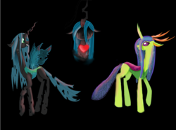Size: 5395x4023 | Tagged: safe, artist:mr100dragon100, queen chrysalis, changedling, changeling, changeling queen, absurd resolution, black background, dark, evil, evil grin, former queen chrysalis, future, good, grin, heart, light, purified chrysalis, reformed, simple background, smiling, worried