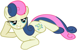 Size: 5874x3817   Tagged: safe, artist:iamthegreatlyra, bon bon, sweetie drops, earth pony, pony, absurd resolution, draw me like one of your french girls, female, lidded eyes, mare, prone, simple background, smiling, solo, transparent background, vector