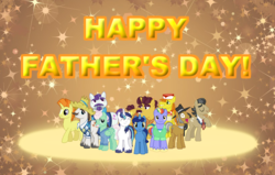 Size: 816x519 | Tagged: artist:trini-mite, bow hothoof, carrot cake, coriander cumin, father, father's day, filthy rich, gentle breeze, hondo flanks, igneous rock pie, male, mr. stripes, night light, pony, safe, shining armor, stallion, sunspot (character)