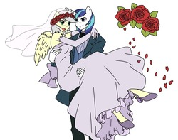 Size: 1280x1008 | Tagged: safe, artist:linedraweer, shining armor, oc, oc:silver, anthro, unguligrade anthro, alternate universe, anthro oc, canon x oc, clothes, commission, dress, female, flower, flower in hair, male, marriage, ring, shipping, simple background, straight, wedding, wedding dress, wedding ring