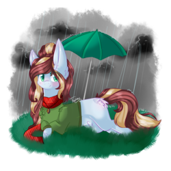 Size: 1000x1000 | Tagged: safe, artist:twinkepaint, oc, oc only, oc:gabby, earth pony, pony, clothes, female, mare, prone, rain, solo, sweater, umbrella