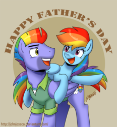 Size: 800x862   Tagged: safe, artist:johnjoseco, bow hothoof, rainbow dash, pony, parental glideance, clothes, father and daughter, father's day, female, male, ponies riding ponies, rainbow dash riding bow hothoof, riding