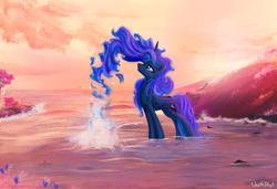 Size: 2500x1705 | Tagged: safe, artist:1deathpony1, artist:kp-shadowsquirrel, color edit, edit, princess luna, alicorn, pony, color porn, colored, ethereal mane, female, solo, splash, water
