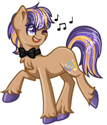 Size: 871x1011 | Tagged: artist:sketchyhowl, bowtie, earth pony, male, oc, oc:jazz apple, oc only, one eye closed, pony, safe, simple background, singing, solo, stallion, transparent background