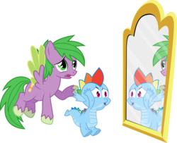 Size: 8303x6748   Tagged: safe, artist:gray-gold, artist:tamalesyatole, color edit, edit, vector edit, rainbow dash, spike, dragon, pegasus, pony, .svg available, absurd resolution, colored, dragoness, dragonified, female, freaking out, hands on head, male, mirror, open mouth, ponified, ponified spike, rainbow dragon, raised hoof, reflection, role reversal, simple background, species swap, spread wings, stallion, transparent background, vector, wings