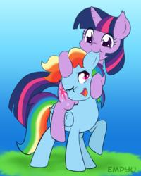 Size: 800x1000 | Tagged: safe, artist:empyu, rainbow dash, twilight sparkle, pegasus, pony, cute, dashabetes, ear bite, female, lesbian, mare, nom, ponies riding ponies, riding, shipping, simple background, smiling, twiabetes, twidash, twilight riding rainbow dash