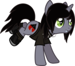 Size: 909x801 | Tagged: safe, artist:lightningbolt, derpibooru exclusive, pony, unicorn, .svg available, bring me the horizon, bucking, clothes, disguised siren, emo, fangs, hair over one eye, happy, horn, jewelry, kellin quinn, male, messy mane, messy tail, necklace, ponified, shirt, shoes, simple background, sleeping with sirens, slit pupils, smiling, socks, solo, stallion, svg, t-shirt, transparent background, trap, vector