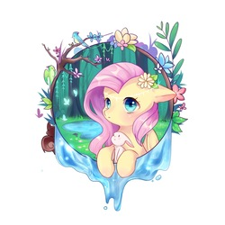 Size: 2362x2362 | Tagged: safe, artist:nitrogenowo, angel bunny, fluttershy, bird, butterfly, pegasus, pony, blushing, bust, cute, female, floppy ears, flower, flower in hair, forest, leaning, looking at you, mare, nature, outdoors, pond, portrait, shyabetes, simple background, tree, water, white background