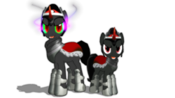Size: 1191x670 | Tagged: safe, artist:ray670, artist:zoroark67, king sombra, pony, unicorn, 3d, curved horn, mmd, red eyes, simple background, size difference, sombra eyes, transparent background