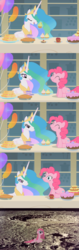 Size: 1240x3944 | Tagged: safe, edit, edited screencap, screencap, pinkie pie, princess celestia, pony, a bird in the hoof, balloon, cake, comic, cupcake, eating, eyes closed, food, lidded eyes, meme, moon, munching, now you fucked up, open mouth, pie, pinkamena diane pie, puffy cheeks, sad, sandwich, screencap comic, sitting, smiling, straight mane, this ended in journey to the moon, this ended in tears, to the moon, tyrant celestia, whoops