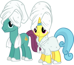 Size: 4822x4269 | Tagged: safe, artist:ironm17, autumn leaf, lemon hearts, earth pony, pony, unicorn, absurd resolution, bathrobe, clothes, duo, female, lemonleaf, male, mare, shipping, simple background, slippers, stallion, straight, towel, transparent background, vector
