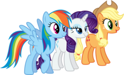 Size: 7235x4371 | Tagged: safe, artist:xhalesx, applejack, rainbow dash, rarity, earth pony, pegasus, pony, unicorn, the show stoppers, .svg available, absurd resolution, applejack's hat, cowboy hat, female, hat, inkscape, mare, ponyscape, simple background, transparent background, trio, vector, vector trace