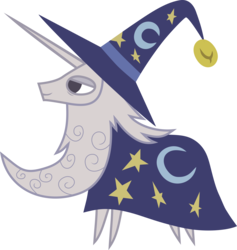 Size: 6600x6976 | Tagged: safe, artist:atomicmillennial, star swirl the bearded, pony, twilight's kingdom, absurd resolution, beard, bell, cape, clothes, facial hair, hat, pointy ponies, serene, simple background, smiling, solo, transparent background, vector, vector trace, wizard, wizard hat