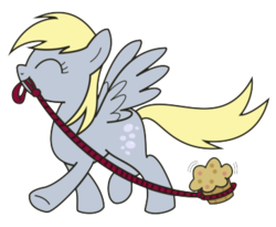 Size: 365x300 | Tagged: artist needed, source needed, safe, derpy hooves, pegasus, pony, cute, derpabetes, eyes closed, food, leash, mouth hold, muffin, pet muffin, simple background, smiling, solo, that pony sure does love muffins, transparent background