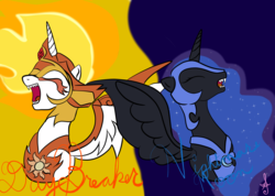 Size: 2330x1658 | Tagged: safe, artist:silversthreads, daybreaker, nightmare moon, alicorn, pony, a royal problem, digital art, evil laugh, simple background