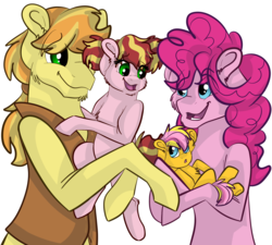 Size: 2000x1800 | Tagged: artist:percy-mcmurphy, braeburn, braepie, colt, female, filly, male, oc, oc:swifty scuffles, oc:wild wes, offspring, parent:braeburn, parent:pinkie pie, parents:braepie, pinkie pie, pony, safe, shipping, straight