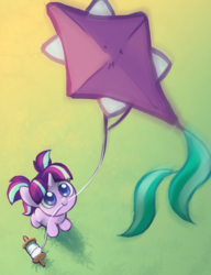Size: 777x1010 | Tagged: safe, artist:dawnfire, starlight glimmer, pony, unicorn, commission, cute, cutie mark, female, filly, filly starlight glimmer, glimmerbetes, grass, hnnng, kite, looking up, mouth hold, smiling, solo, that pony sure does love kites, weapons-grade cute, younger