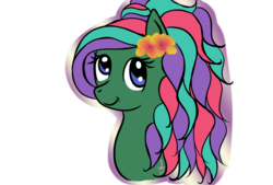 Size: 1600x1080 | Tagged: safe, artist:silversthreads, oc, oc only, oc:sea jade, aquapony, pony, bust, hibiscus, portrait, simple background, solo, transparent background