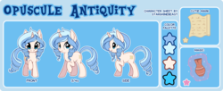 Size: 7344x2984 | Tagged: safe, artist:starshinebeast, oc, oc only, oc:opuscule antiquity, pony, absurd resolution, color palette, cutie mark, female, jar, magic, mare, reference sheet, solo