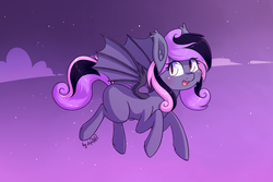 Size: 1920x1280 | Tagged: safe, artist:dsp2003, oc, oc only, oc:yael, bat pony, pony, blank flank, blushing, cloud, commission, cute, female, flying, looking at you, night, open mouth, solo, starry sky, stars