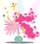 Size: 813x900 | Tagged: safe, artist:sapphiregamgee, boneless, pinkie pie, alicorn, pony, alicornified, balancing, female, hilarious in hindsight, levitation, looking at you, magic, mare, pinkiecorn, princess, profile, race swap, simple background, solo, spotlight, spread wings, telekinesis, transparent background, wings, xk-class end-of-the-world scenario