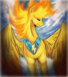 Size: 1642x1873 | Tagged: alicorn, alicornified, artist:not-ordinary-pony, beautiful, cloud, female, fire, majestic, mane of fire, mare, not sunset shimmer, pony, race swap, safe, sky, solo, spitfiery, spitfire, spitfirecorn
