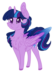 Size: 1376x1801   Tagged: safe, artist:australian-senior, twilight sparkle, oc, oc:twilight invictus, alicorn, pony, kirindos, alternate color palette, alternate universe, chest fluff, chibi, colored hooves, colored wings, colored wingtips, cute, ear fluff, heart eyes, simple background, solo, twilight sparkle (alicorn), white background, wingding eyes