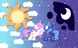 Size: 2560x1600 | Tagged: artist:alicehumansacrifice0, artist:egophiliac, artist:maximillianveers, artist:ooklah, boop, cewestia, cutie mark, edit, female, filly, pink-mane celestia, princess celestia, princess luna, royal sisters, safe, wallpaper, wallpaper edit, woona, younger