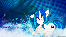 Size: 1920x1080 | Tagged: safe, artist:shelmo69, artist:tadashi--kun, edit, dj pon-3, vinyl scratch, pony, unicorn, chest fluff, cutie mark, female, hooves, horn, mare, red eyes, solo, text, vector, wallpaper, wallpaper edit, wrong eye color