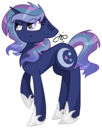 Size: 609x766 | Tagged: artist:thepegasisterpony, magical lesbian spawn, offspring, parent:princess luna, parent:rainbow dash, parents:lunadash, pony, safe, signature, simple background, solo, transparent background