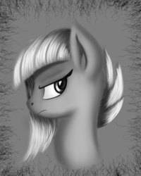 Size: 3200x4000 | Tagged: safe, artist:qbellas, limestone pie, earth pony, pony, female, frown, grayscale, mare, monochrome, solo