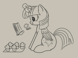 Size: 779x585 | Tagged: safe, artist:andelai, twilight sparkle, alicorn, pony, eating, eating too much, food, levitation, magic, muffin, overeating, reading, sitting, solo, telekinesis, this will end in weight gain, twilight sparkle (alicorn)