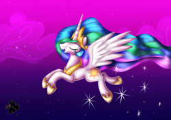 Size: 3000x2100 | Tagged: safe, artist:katakiuchi4u, princess celestia, alicorn, pony, cloud, crown, ethereal mane, ethereal tail, eyes closed, female, flowing mane, flowing tail, flying, hoof shoes, jewelry, mare, multicolored mane, multicolored tail, night, open mouth, regalia, smiling, solo, spread wings, stars